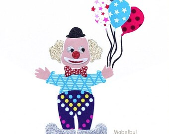 """Applied fusible XL: series """"The Clown and balloons"""" circus star glittery Flex and cotton Poplin fabric."""