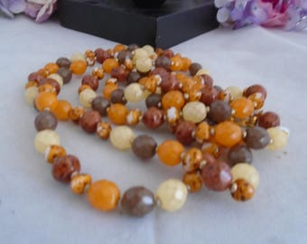 """Vintage Joan Rivers 60"""" Necklace. Features Autumn and Fall Colors. The beads have Goldton Spacers. Very Long USE FOR CRAFTS."""