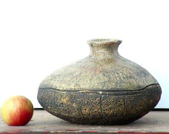 Primitive Clay Urn Handmade Ceramic Vase Earthenware Art