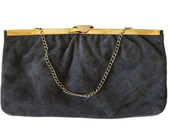 Vintage Gray Suede Clutch Purse