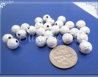 50 Round Stardust Beads - 8mm Bright Silver over Copper Stardust Beads, Bright Stardust Beads