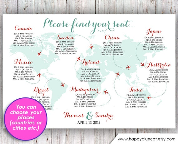 Wedding seating chart rush service world map plane travel gumiabroncs Choice Image