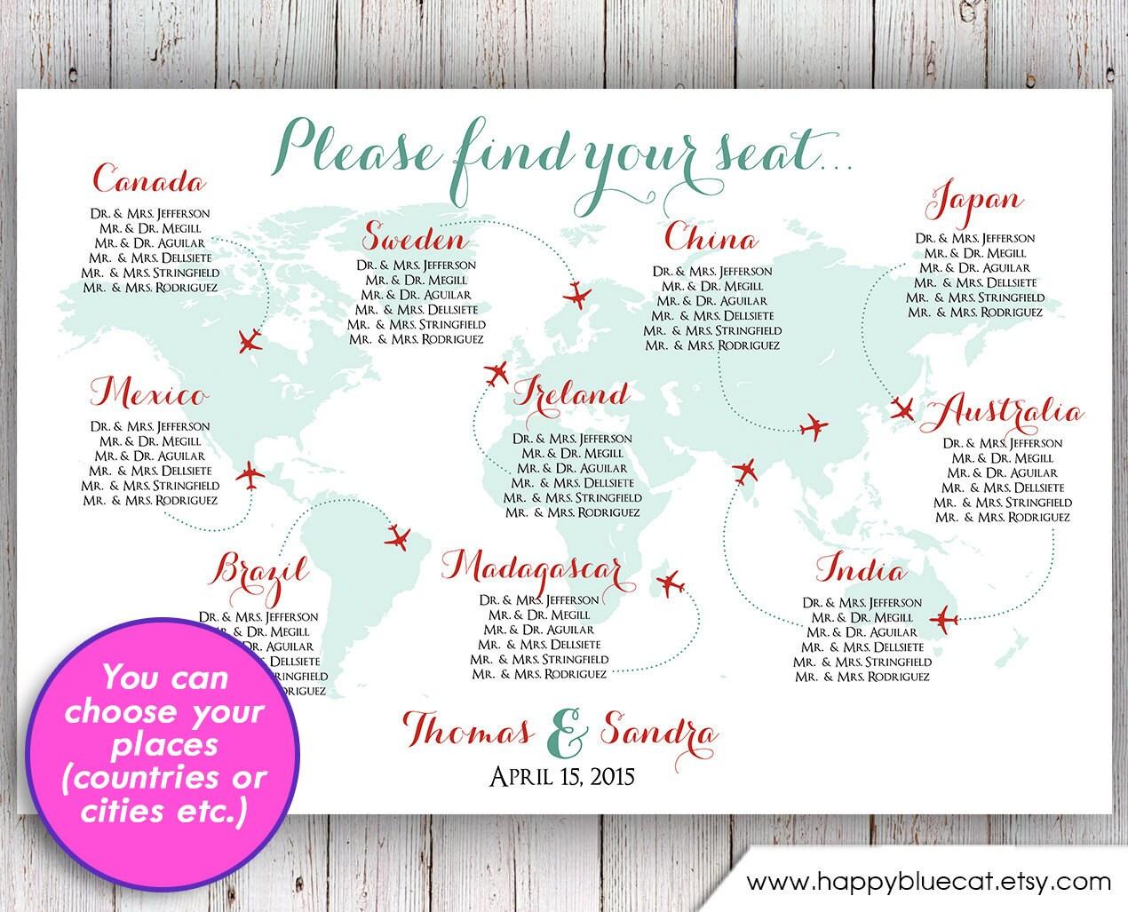Wedding seating chart rush service world map plane travel zoom gumiabroncs Choice Image