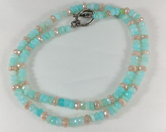 "16.5"" Sparkling Mystic Peach Moonstone & Light Aqua Blue Peruvian Opal Beaded Necklace"