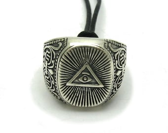 Sterling silver pendant solid 925 illuminati ring eye of the providence
