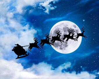 Santa Print, Santa Sleigh Print, Santa Claus Print, Santa Photo, Christmas Print, Christmas Decoration, Christmas Decor, Holiday Decoration