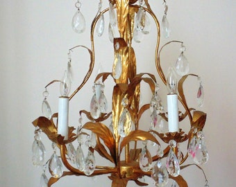 Sweet Petite Vintage Chandelier Italian Tole Gilt Metal Bird Cage Modern 4 Lights