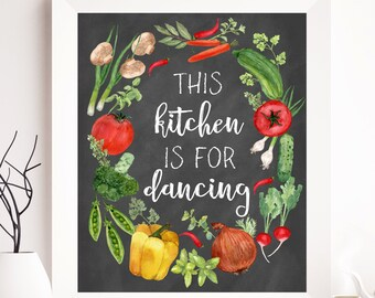 Kitchen printable, this kitchen is for dancing, kitchen walll art, kitchen print, kitchen wall decor, floral printable, spring printable art