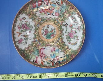 Chinese Antique Plate Rose Mandarin Porcelain Hand Painted circa 1850s Asian Rose Medallion Plate Decor Rare Victorian China 8.5 inches