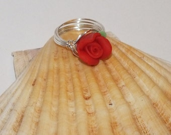 Silver Plated Wire Ring With Red Polymer Clay Rose Focal Bead