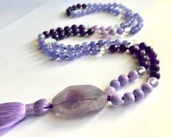 Lilac Mala, Amethyst, Lavender Jade, Opalite, Purple Agate, 108 Beads, Mala, Hand Knotted, Authentic, Reiki, Spring Collection, Yoga