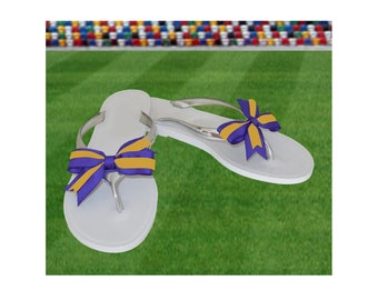 Purple + Bright Gold Bow Jelly Sandals