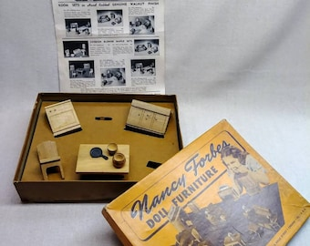 Nancy Forbes 1940s Dollhouse Furniture in original box with catalogue. # 033