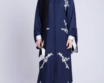 Kimono style abaya in midnight blue