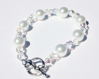 White Glass Pearl and Pink Iridescent Bead Bracelet