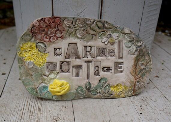 Bespoke, Ceramic House Name Sign, Number Plaque, Garden Sign, Herb Garden decoration, Allotment sign, Cottage Name