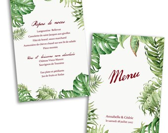 10 x cards Tropical wedding menu