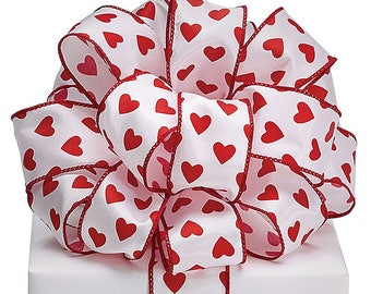 1.5 x 5 yards- White and red valentine ribbon, Valentine ribbon, valentine ribbons, valentines day ribbon, Happy Valentines Day Ribbon