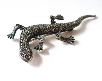 Sterling Silver and Marcasite Lizard Pin Brooch Vintage Gecko Salamander Jewelry