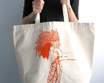 Screen Printed Oversized Recycled Cotton Tote Bag - Eco Friendly Shopper Grocery Tote - Reusable and Washable - Great for Everyday Use