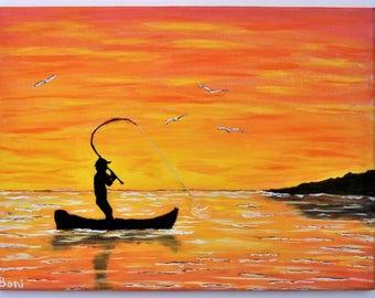 Original Folk Art Painting: Fisherman Silhouette with Sunset