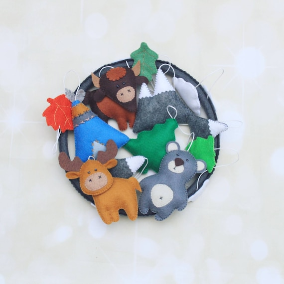 Woodland mobile crib mobile forest mobile woodland animals for Woodland animals nursery mobile
