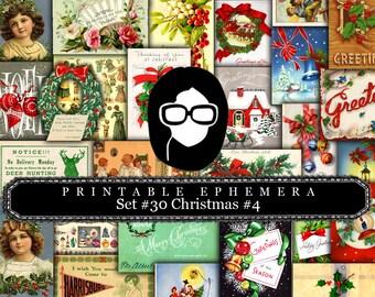 Christmas journal kits - Ephemera Set #30 Christmas #3- 30 Pg download - Christmas digital download, Christmas journal pages, ephemera pack
