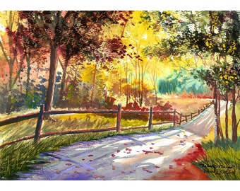 Watercolor landscape Painting PRINT country road Fall trees Landscape colors GICLEE