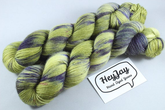 Hand Dyed Sparkle Merino Sock Yarn - Later Alligator