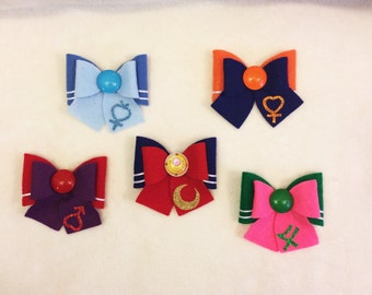 Sailor Scout Bows Set of 5, Sailor Moon, Jupiter, Mars, Mercury, Venus
