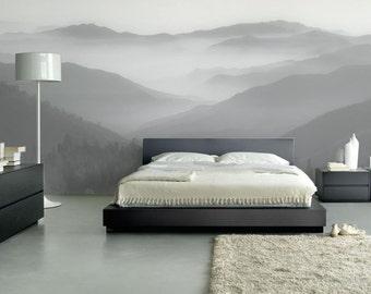Black&White hills / Nature wall mural / Nature wall decor / Home decor / Scandinavian design / Removable wall decor/ ECO-friendly wall mural