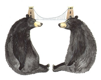 "Signed A5 Giclee Print ""Bridge Bears"" from an original watercolour painting. By Laura Robertson"