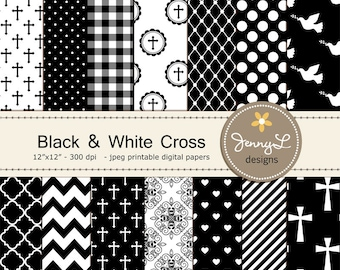 Black and White Baptism Digital Papers, Cross, First Communion Digital Scrapbooking, Christening, Holy Week, Wedding