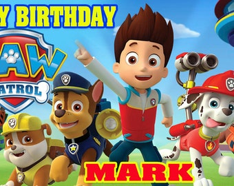 Birthday banner Personalized 4ft x 2 ft Paw Patrol