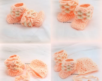 Baby Booties New Born Shoes Peach Crochet Bonnet Set Crochet Booties Hat Baby Shoes Baby Shower Gift Gift for Baby Christening