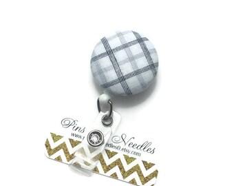 Fabric ID Badge Reel - Retractable Badge Reel - Cute Id Badge Reels-Fabric Badge Holder -Fabric ID Badge Reel - White and Gray ID Badge Reel