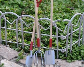 Wood & Metal Garden Tool Set for Miniature Garden, Fairy Garden