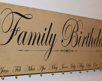 Personalized Family Birthday Board Calendar - Black and Tan