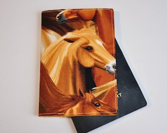 Passport Cover Sleeve Case Holder -  horses - horse lover -  Cotton Fabric