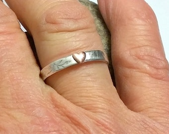 Silver Copper Heart Ring, Heart Stacking Ring, Copper Heart Charm, Promise Ring, Unique Heart Band, Stacking Ring, Gift for Her Wife