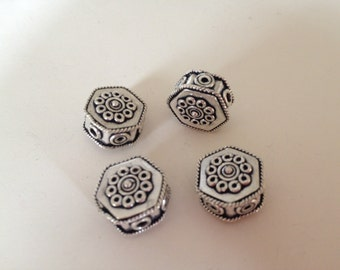 Two (2) Genuine Bali Sterling Silver 14 x 7mm Hexagon Beads, Sterling Silver Beads, Jewelry Supplies