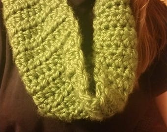 olive green crocheted infinity scarf