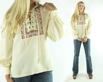 Vintage 70s Embroided Blouse Long Sleeve Shirt Tunic Caftan Top Ivory 1970s Medium M Kaftan Hippie Boho Festival Fashion