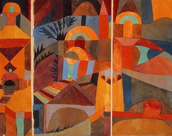 SET of TABLE ORIGINAL semi-rigid WASHABLE AESTHETIC and durable - Paul Klee - the Temple garden.