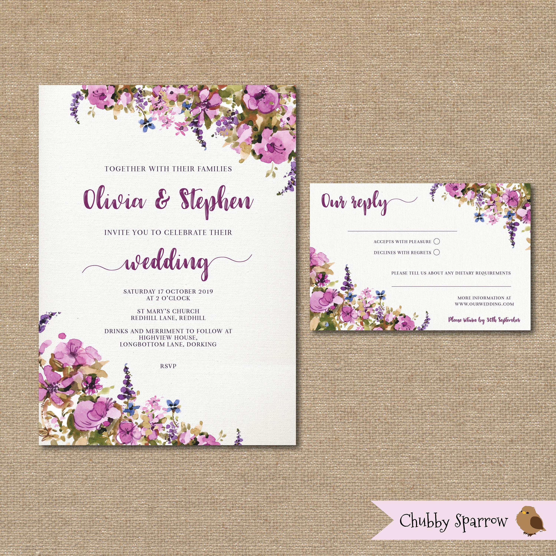 Purple Lilac Wedding Invitation Printable set kit Watercolour