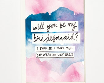 I Promise I Won't Make You Wear An Ugly Dress - Bridesmaid, Greetings Card, Bridal Card, Wedding Card
