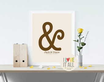 """And Print, Ampersand, Love, Anniversary Gift, Typography, Romantic Gift, Personalized, You And Me, """"&"""" Punctuation, Wedding Reception"""