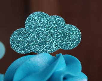 Cloud Cupcake Toppers {Dozen} Party Decor, Wedding, Graduation, Baby Shower, Birthday Party Decoration, Weather Party, 28 GLITTER COLORS
