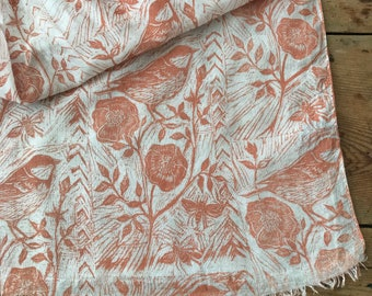 Hand printed cotton scarf in 'bird & wild rose' by Lou Tonkin