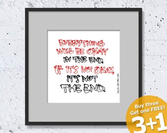 NEW YORK QUOTE #04, Everything Will Be Okay, Color Ink, Instant Download, Ready for Printing, Home Decor, Wall Art, Resizable and Reusable